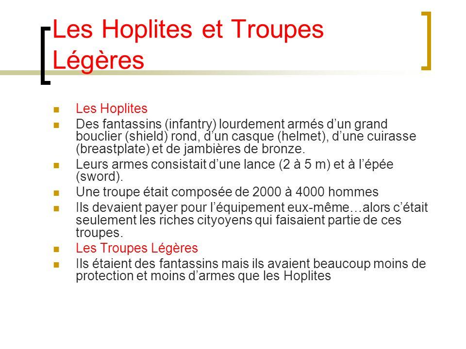 Les Hoplites et Troupes Légères Les Hoplites Des fantassins (infantry) lourdement armés dun grand bouclier (shield) rond, dun casque (helmet), dune cu