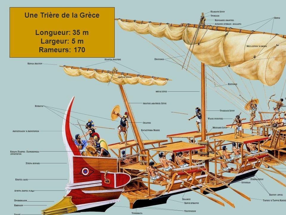 Une Trière de la Grèce Longueur: 35 m Largeur: 5 m Rameurs: 170