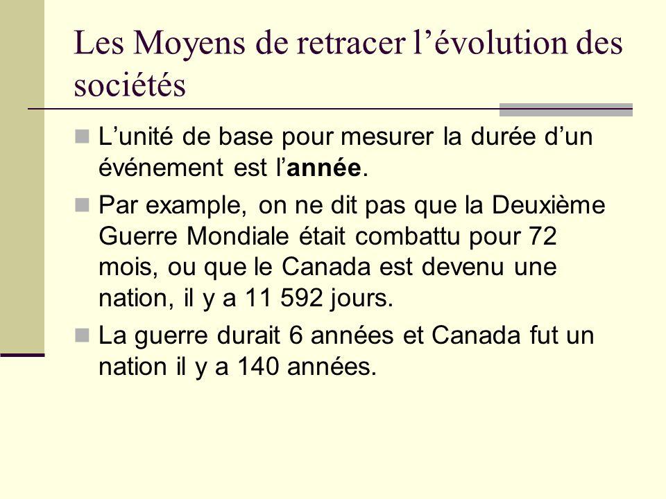 Les Moyens de retracer lévolution des sociétés Lunité de base pour mesurer la durée dun événement est lannée. Par example, on ne dit pas que la Deuxiè