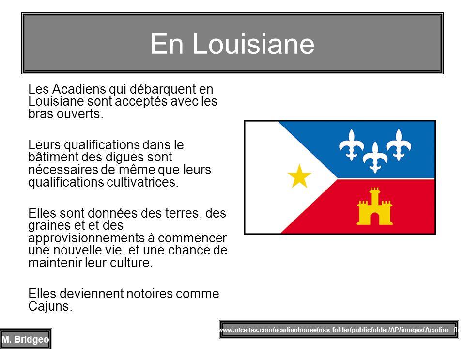 Les Acadiens qui débarquent en Louisiane sont acceptés avec les bras ouverts. Leurs qualifications dans le bâtiment des digues sont nécessaires de mêm