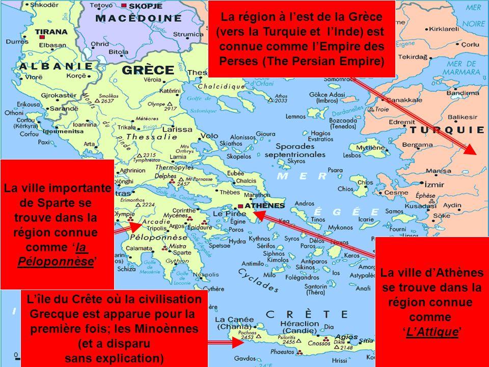 La Grèce dans lAntiquité Lîle du Crête où la civilisation Grecque est apparue pour la première fois; les Minoènnes (et a disparu sans explication) La