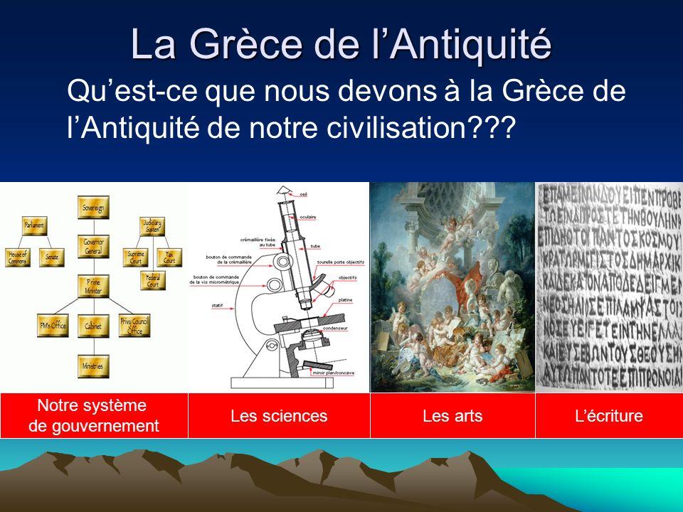 La Grèce de lAntiquité Quest-ce que nous devons à la Grèce de lAntiquité de notre civilisation??? Notre système de gouvernement Les sciencesLes artsLé