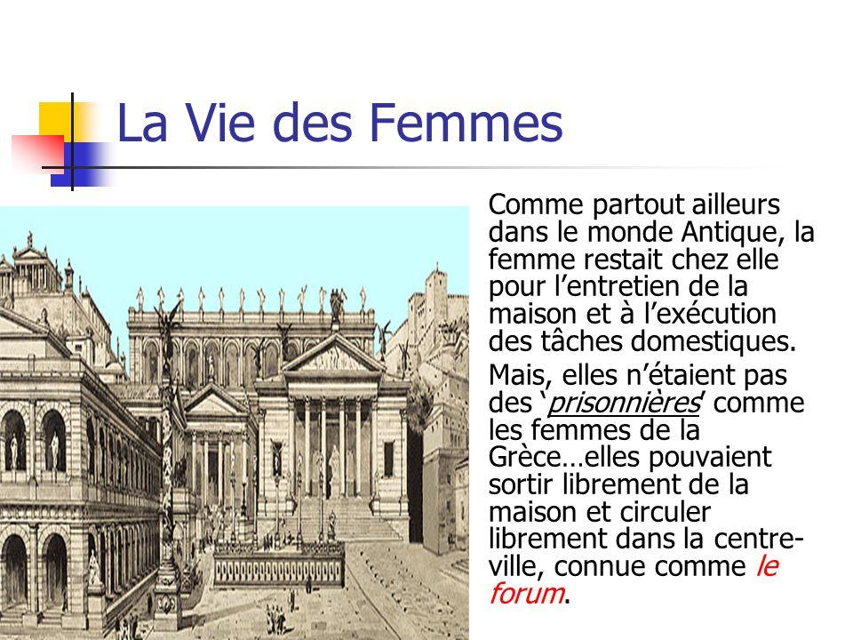 La Vie des Femmes Comme partout ailleurs dans le monde Antique, la femme restait chez elle pour lentretien de la maison et à lexécution des tâches dom
