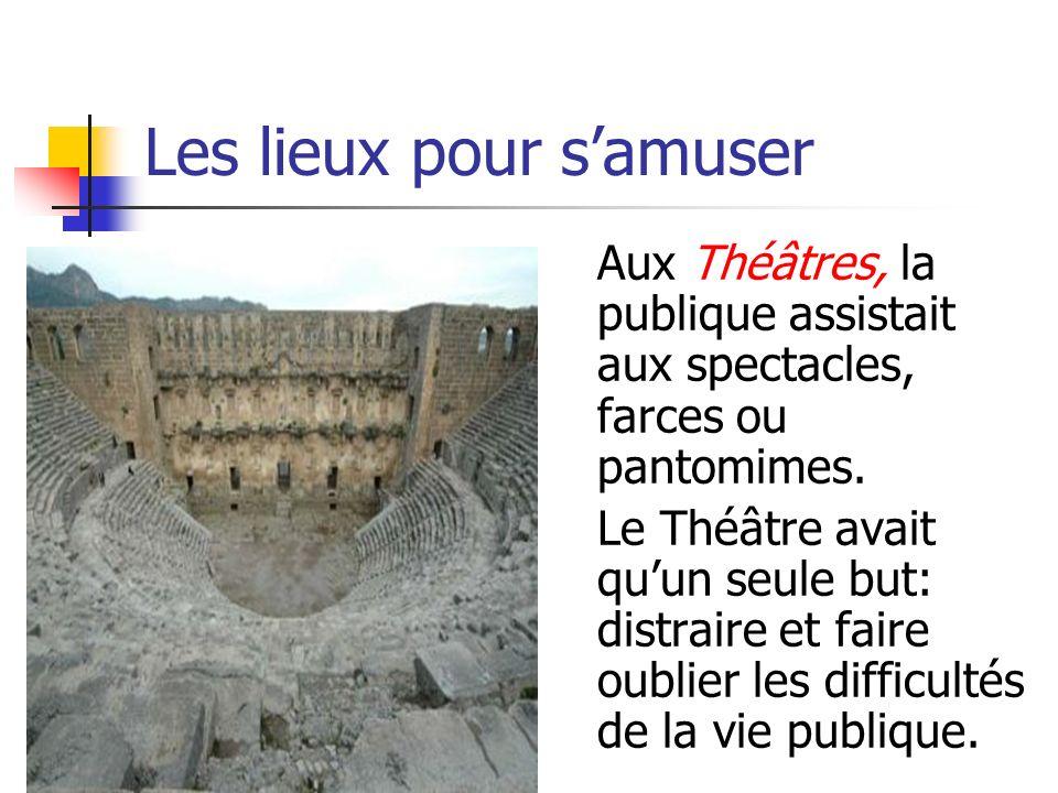 Les lieux pour samuser Aux Théâtres, la publique assistait aux spectacles, farces ou pantomimes. Le Théâtre avait quun seule but: distraire et faire o