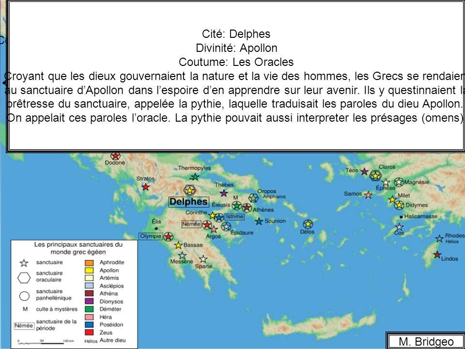 La religion en Grèce M. Bridgeo Cité: Athènes Divinité: Athéna Coutume: Les Panathénées; une procession (parade religieuse) dans les rues dAthènes jus