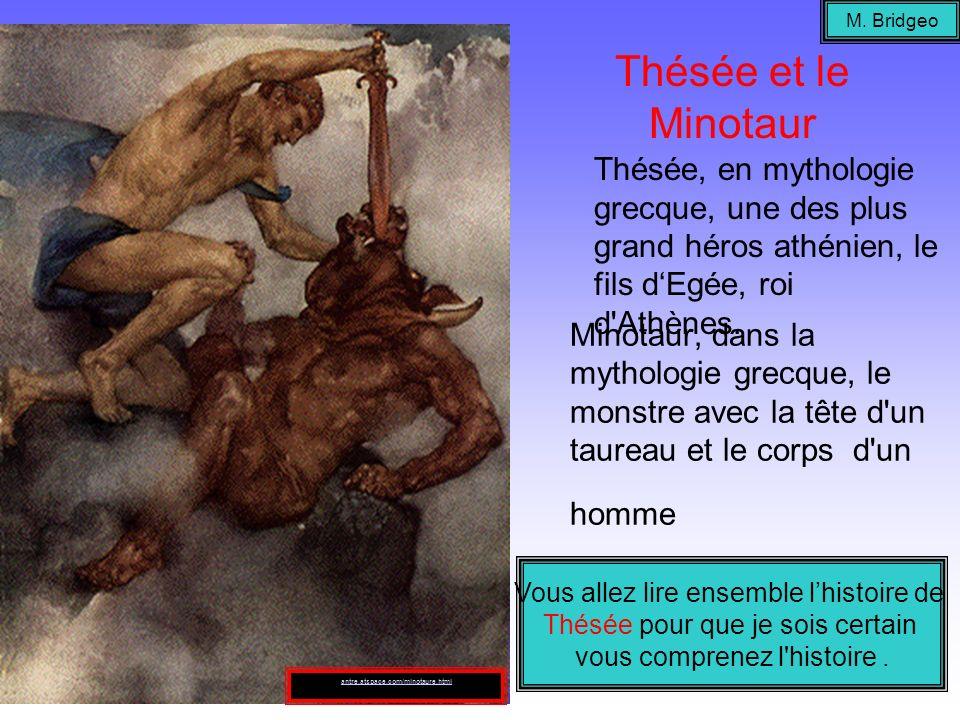 Minotaur, dans la mythologie grecque, le monstre avec la tête d'un taureau et le corps d'un homme Thésée, en mythologie grecque, une des plus grand hé