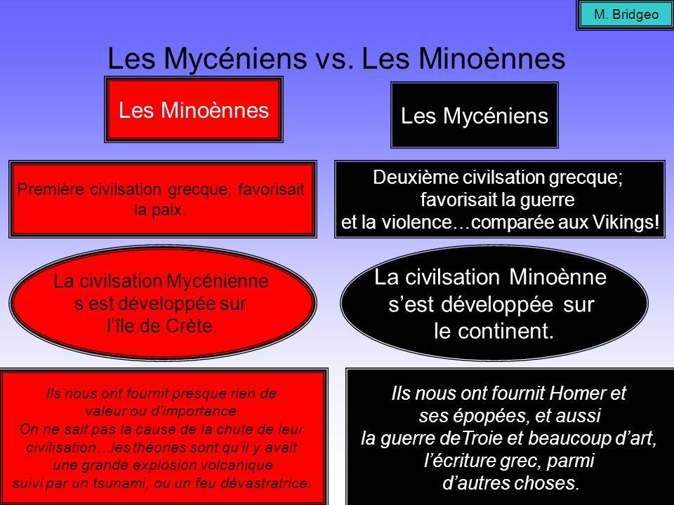 Les Mycéniens vs. Les Minoènnes Les Minoènnes Première civilsation grecque; favorisait la paix. Les Mycéniens Deuxième civilsation grecque; favorisait