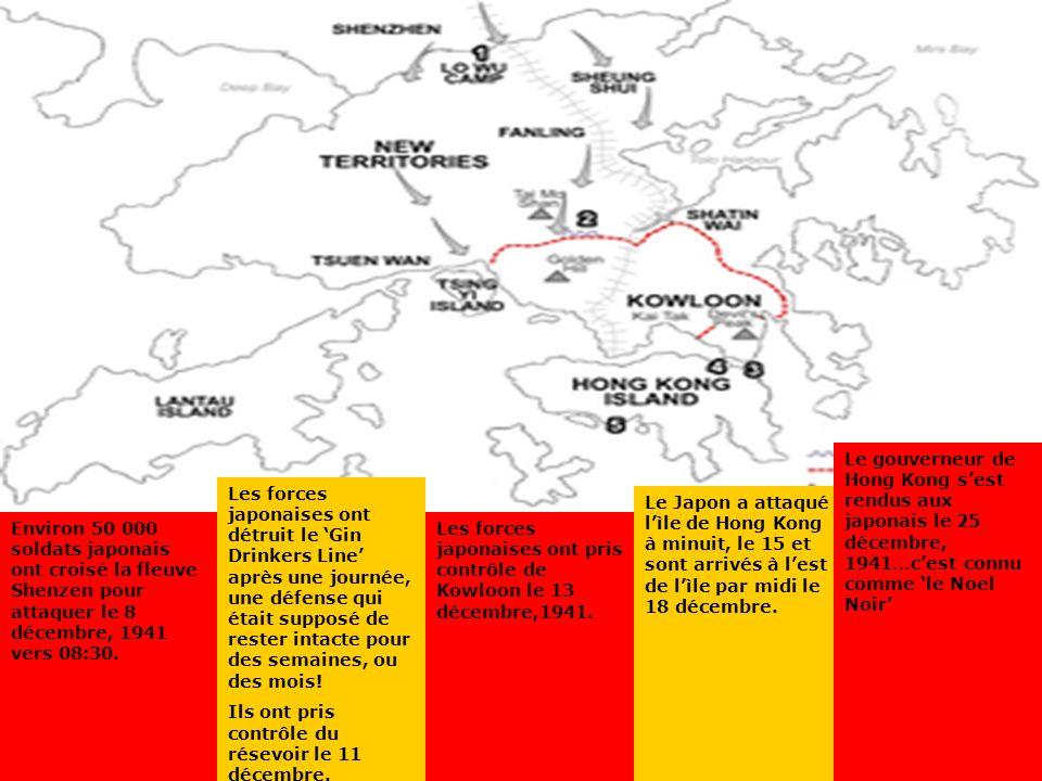 The Battle of Hong Kong Environ 50 000 soldats japonais ont croisé la fleuve Shenzen pour attaquer le 8 décembre, 1941 vers 08:30. Les forces japonais