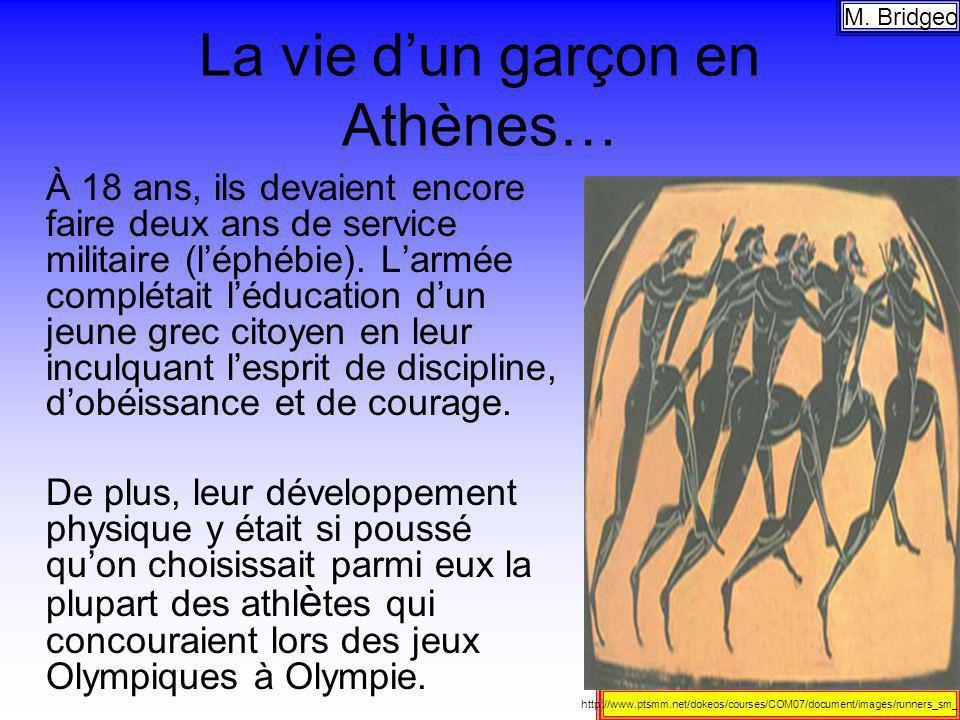 La vie dun garçon en Athènes… À 18 ans, ils devaient encore faire deux ans de service militaire (léphébie). Larmée complétait léducation dun jeune gre