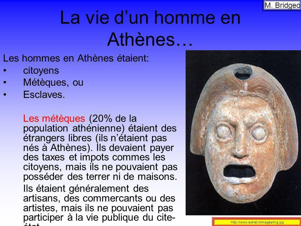 La vie dun homme en Athènes… Les hommes en Athènes étaient: citoyens Métèques, ou Esclaves. Les métèques (20% de la population athénienne) étaient des