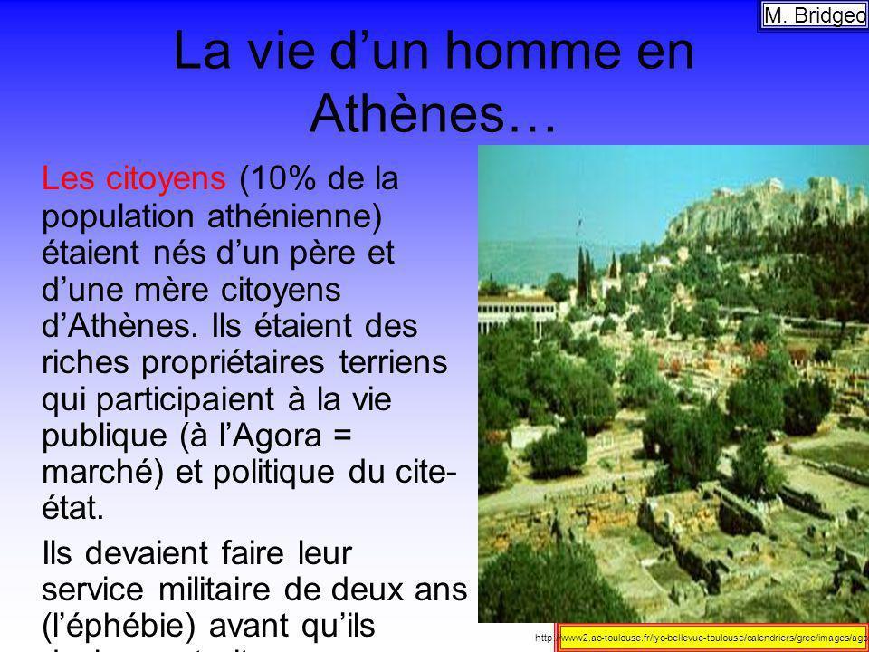 La vie dun homme en Athènes… Les citoyens (10% de la population athénienne) étaient nés dun père et dune mère citoyens dAthènes. Ils étaient des riche