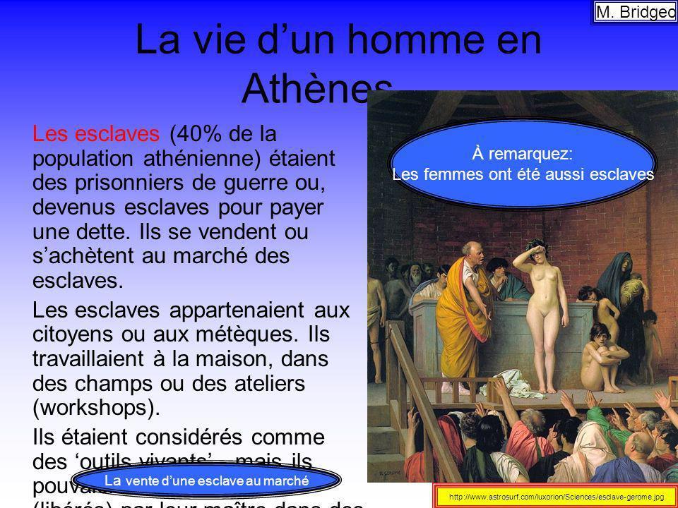 La vie dun homme en Athènes… Les esclaves (40% de la population athénienne) étaient des prisonniers de guerre ou, devenus esclaves pour payer une dett