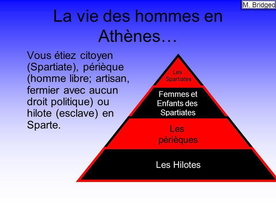 La vie des hommes en Athènes… Vous étiez citoyen (Spartiate), périèque (homme libre; artisan, fermier avec aucun droit politique) ou hilote (esclave)