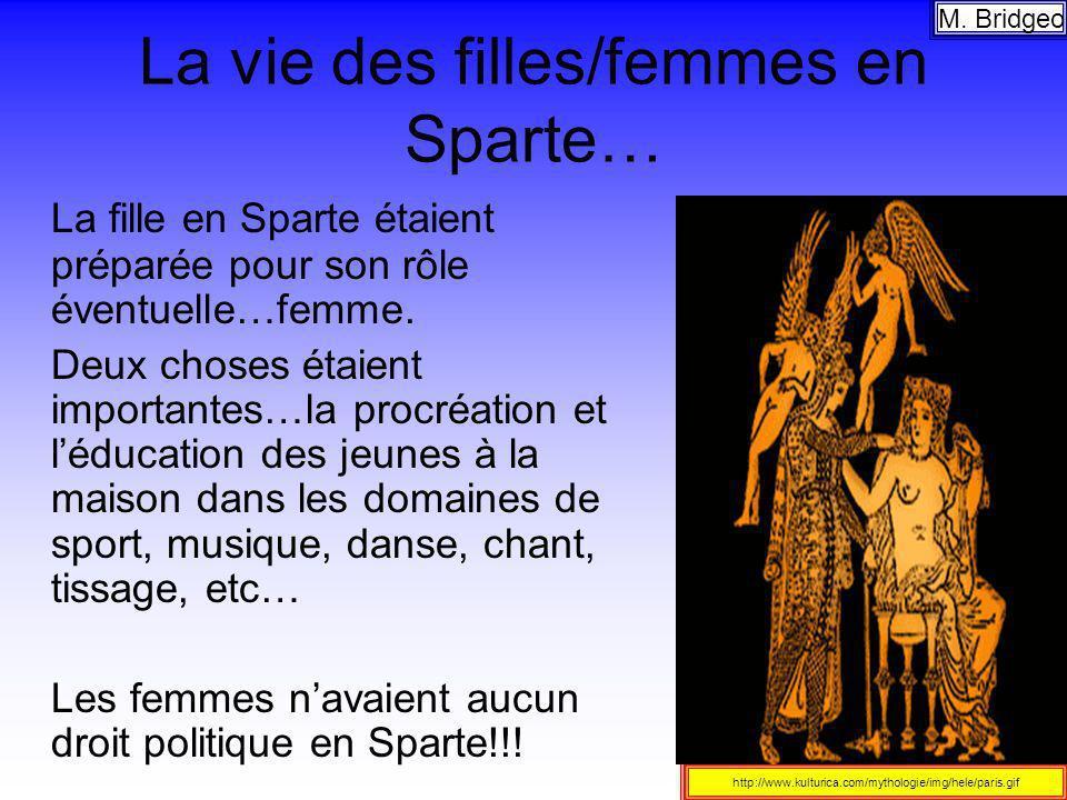La vie des filles/femmes en Sparte… La fille en Sparte étaient préparée pour son rôle éventuelle…femme. Deux choses étaient importantes…la procréation