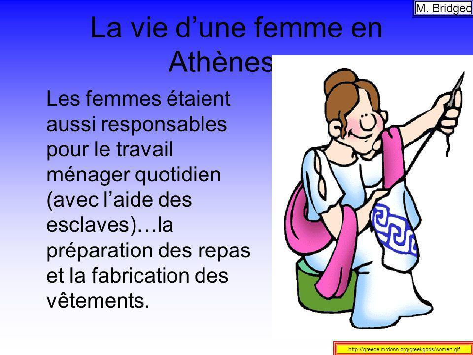 La vie dune femme en Athènes… Les femmes étaient aussi responsables pour le travail ménager quotidien (avec laide des esclaves)…la préparation des rep