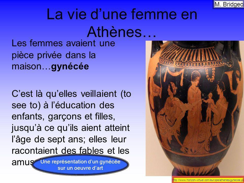 La vie dune femme en Athènes… Les femmes avaient une pièce privée dans la maison…gynécée Cest là quelles veillaient (to see to) à léducation des enfan
