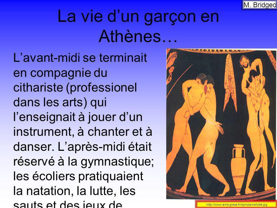 La vie dun garçon en Athènes… Lavant-midi se terminait en compagnie du cithariste (professionel dans les arts) qui lenseignait à jouer dun instrument,
