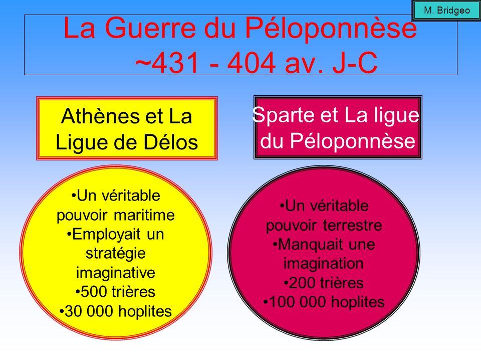 La Guerre du Péloponnèse ~431 - 404 av. J-C Athènes et La Ligue de Délos Sparte et La ligue du Péloponnèse Un véritable pouvoir maritime Employait un