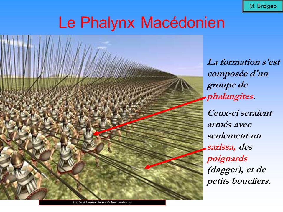 Le Phalynx Macédonien La formation s'est composée d'un groupe de phalangites. Ceux-ci seraient armés avec seulement un sarissa, des poignards (dagger)