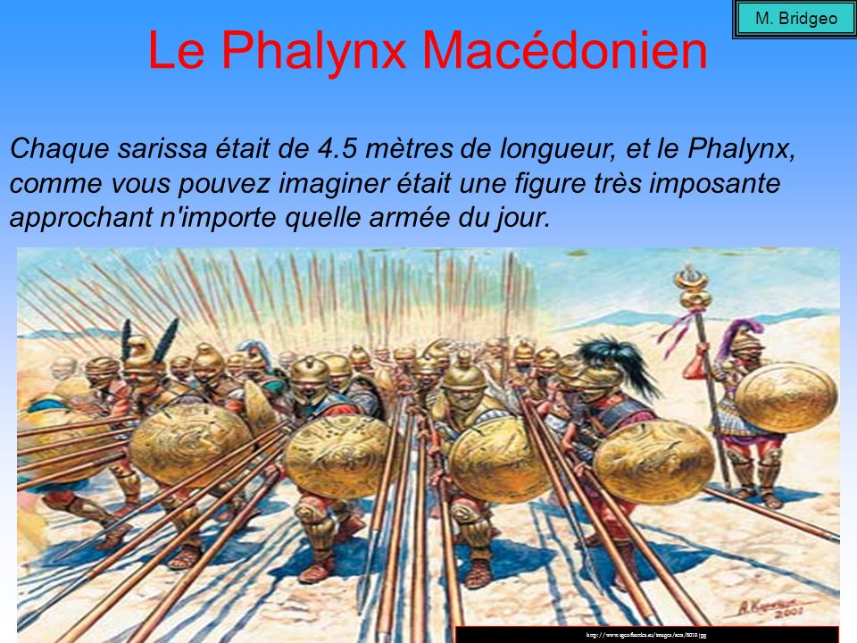 Le Phalynx Macédonien Chaque sarissa était de 4.5 mètres de longueur, et le Phalynx, comme vous pouvez imaginer était une figure très imposante approc