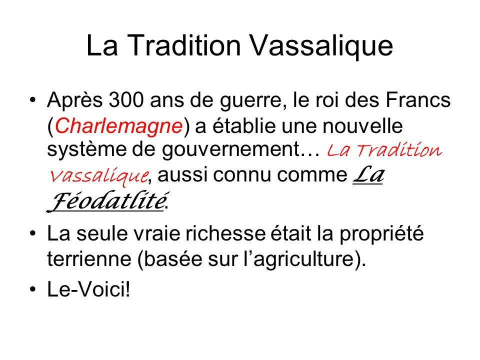 La Tradition Vassalique Après 300 ans de guerre, le roi des Francs (Charlemagne) a établie une nouvelle système de gouvernement… La Tradition Vassaliq