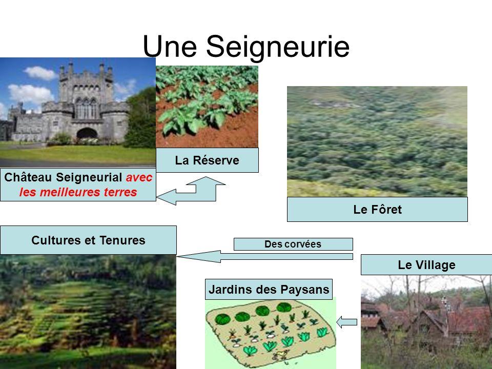 Une Seigneurie Château Seigneurial avec les meilleures terres Cultures et Tenures Jardins des Paysans Le Village Le Fôret La Réserve Des corvées