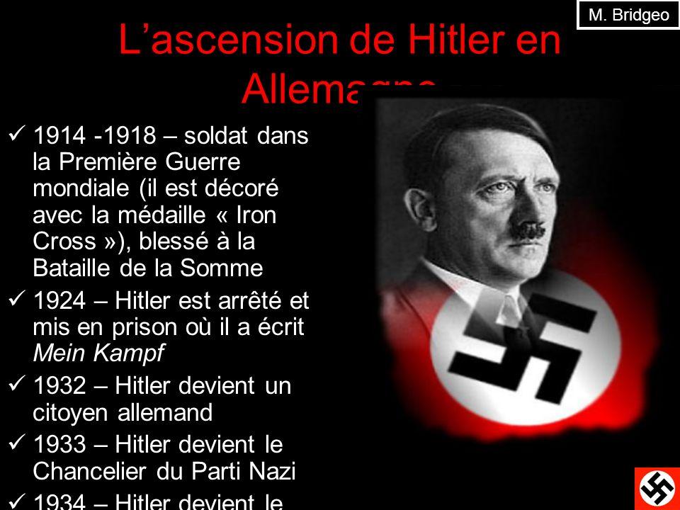 Lascension de Hitler en Allemagne 1914 -1918 – soldat dans la Première Guerre mondiale (il est décoré avec la médaille « Iron Cross »), blessé à la Ba