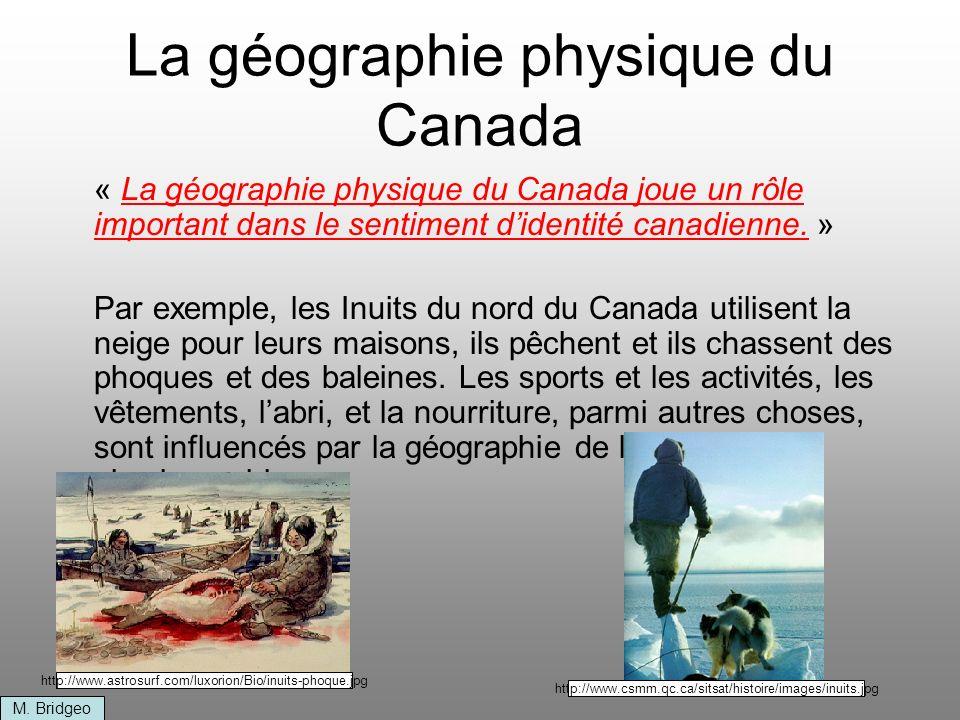 Les régions physiographiques du Canada Les régions physiographiques au Canada sont divisées par caractéristiques : Lâge de la roche Le type de roche Le relief La pente du terrain 1.Cordillere nord-américaine 2.Plaines intérieures 3.Bouclier canadien 4.Basses-terres de la baie dHudson 5.Basses-terres des Grans Lac et du Saint-Laurent 6.