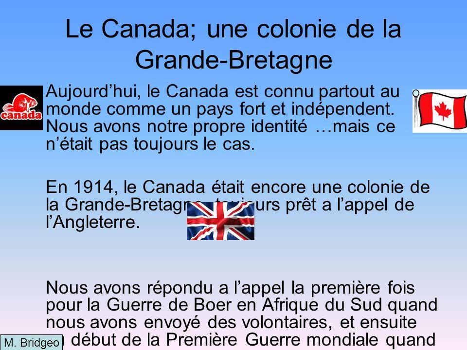 Toute a changé en 1916 Notre Premier Ministre, Robert Borden, nétait pas content quil ne recevait pas toute linformation de ses égaux eux-même, mais de linformation fournie par des journaux!!.