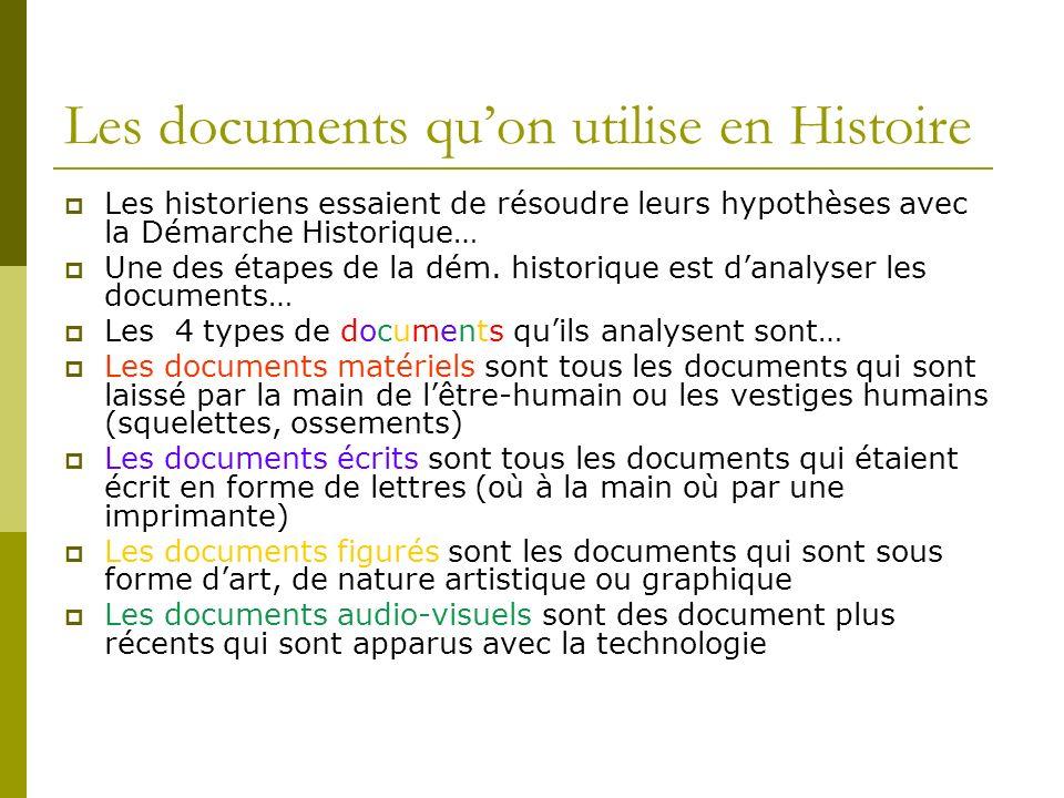 Les documents quon utilise en Histoire Les historiens essaient de résoudre leurs hypothèses avec la Démarche Historique… Une des étapes de la dém. his
