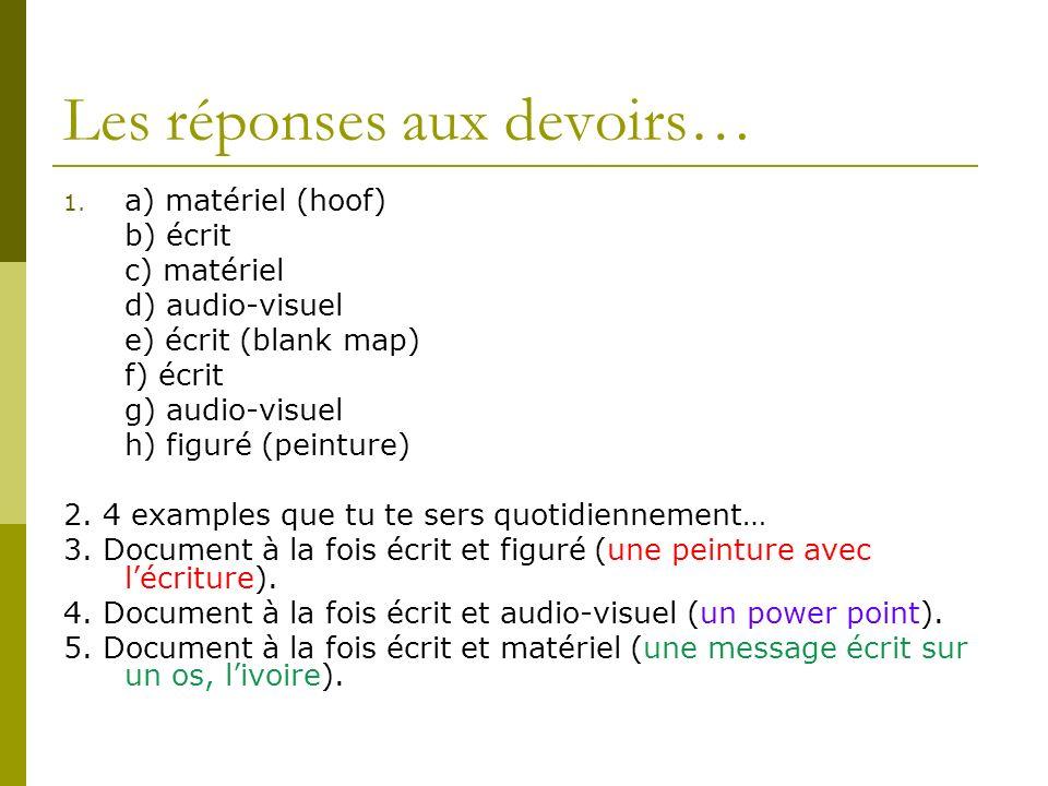 Les réponses aux devoirs… 1. a) matériel (hoof) b) écrit c) matériel d) audio-visuel e) écrit (blank map) f) écrit g) audio-visuel h) figuré (peinture