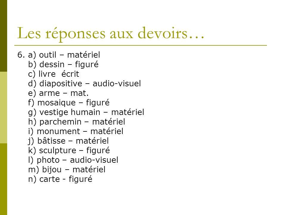 Les réponses aux devoirs… 6. a) outil – matériel b) dessin – figuré c) livre écrit d) diapositive – audio-visuel e) arme – mat. f) mosaique – figuré g