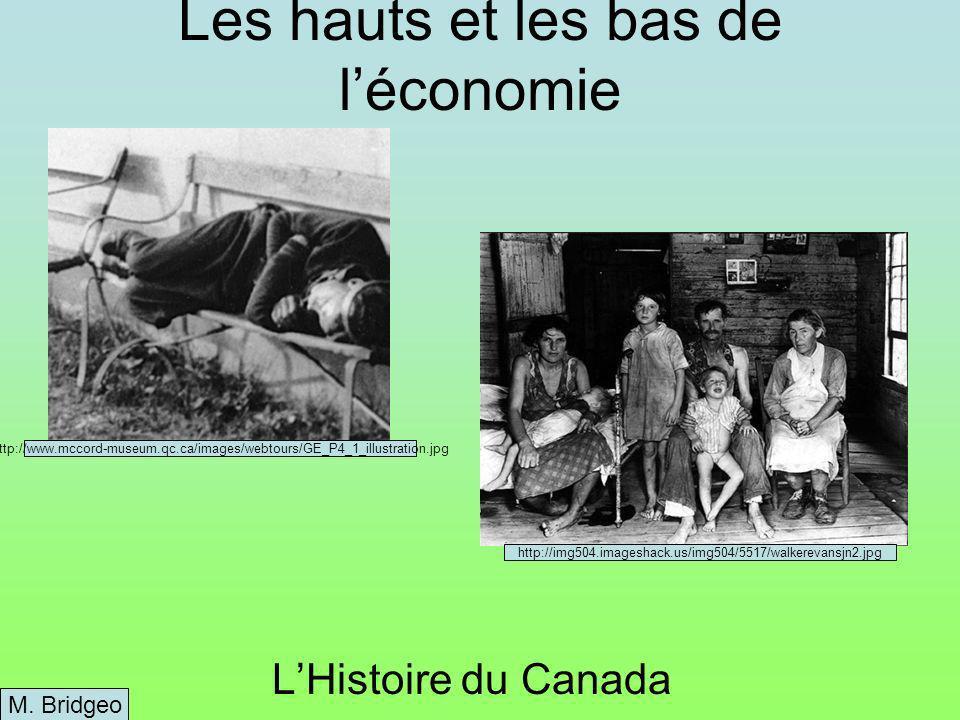 Les hauts et les bas de léconomie LHistoire du Canada M.