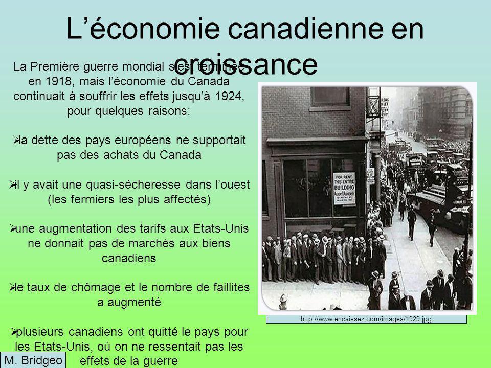 Léconomie canadienne en croissance M.