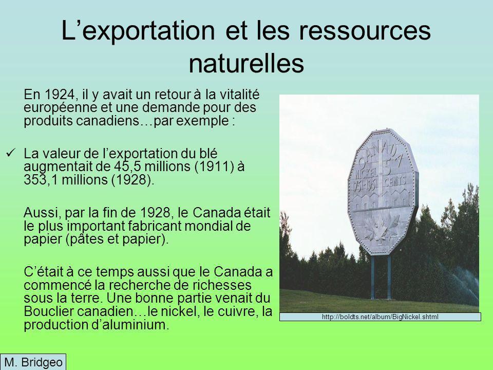 Lexportation et les ressources naturelles En 1924, il y avait un retour à la vitalité européenne et une demande pour des produits canadiens…par exemple : La valeur de lexportation du blé augmentait de 45,5 millions (1911) à 353,1 millions (1928).