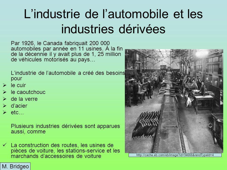 Lindustrie de lautomobile et les industries dérivées Par 1926, le Canada fabriquait 200 000 automobiles par année en 11 usines.