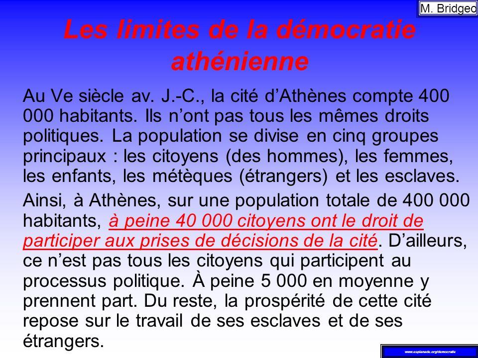 Les limites de la démocratie athénienne Au Ve siècle av. J.-C., la cité dAthènes compte 400 000 habitants. Ils nont pas tous les mêmes droits politiqu