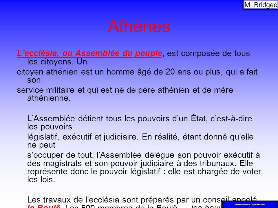 Athènes Lecclésia, ou Assemblée du peuple, est composée de tous les citoyens. Un citoyen athénien est un homme âgé de 20 ans ou plus, qui a fait son s