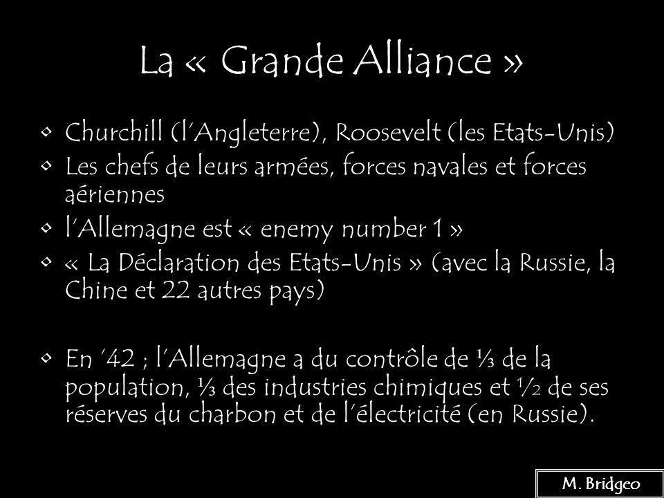 20 La « Grande Alliance » Churchill (lAngleterre), Roosevelt (les Etats-Unis) Les chefs de leurs armées, forces navales et forces aériennes lAllemagne