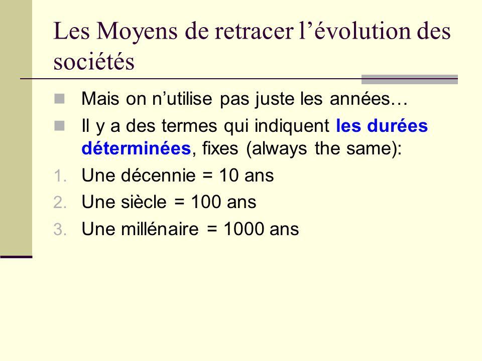 Les Moyens de retracer lévolution des sociétés …et il y des termes utilisées pour décrire les durées indéterminées aussi: 1.