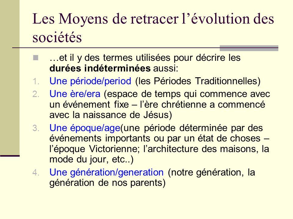 Les Moyens de retracer lévolution des sociétés …et il y des termes utilisées pour décrire les durées indéterminées aussi: 1. Une période/period (les P
