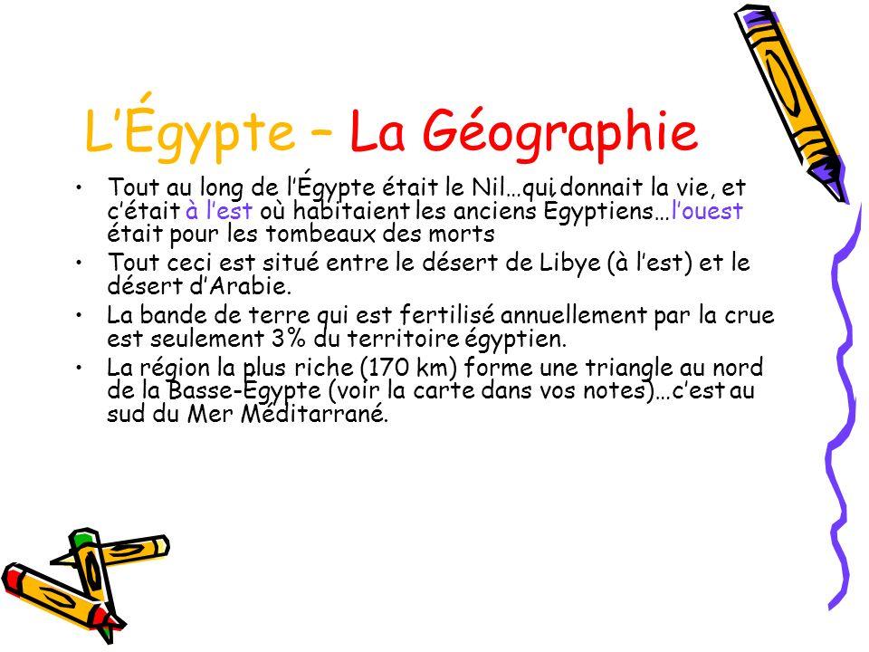 LÉgypte – La Géographie Tout au long de lÉgypte était le Nil…qui donnait la vie, et cétait à lest où habitaient les anciens Égyptiens…louest était pour les tombeaux des morts Tout ceci est situé entre le désert de Libye (à lest) et le désert dArabie.