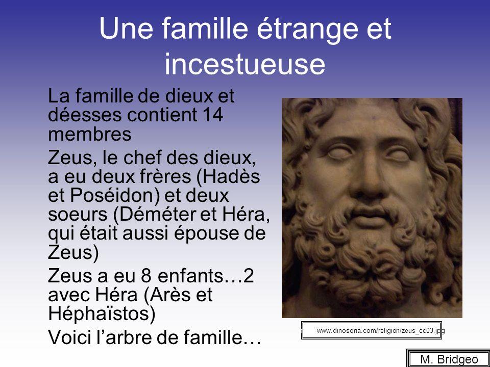 Une famille étrange et incestueuse La famille de dieux et déesses contient 14 membres Zeus, le chef des dieux, a eu deux frères (Hadès et Poséidon) et deux soeurs (Déméter et Héra, qui était aussi épouse de Zeus) Zeus a eu 8 enfants…2 avec Héra (Arès et Héphaïstos) Voici larbre de famille… M.