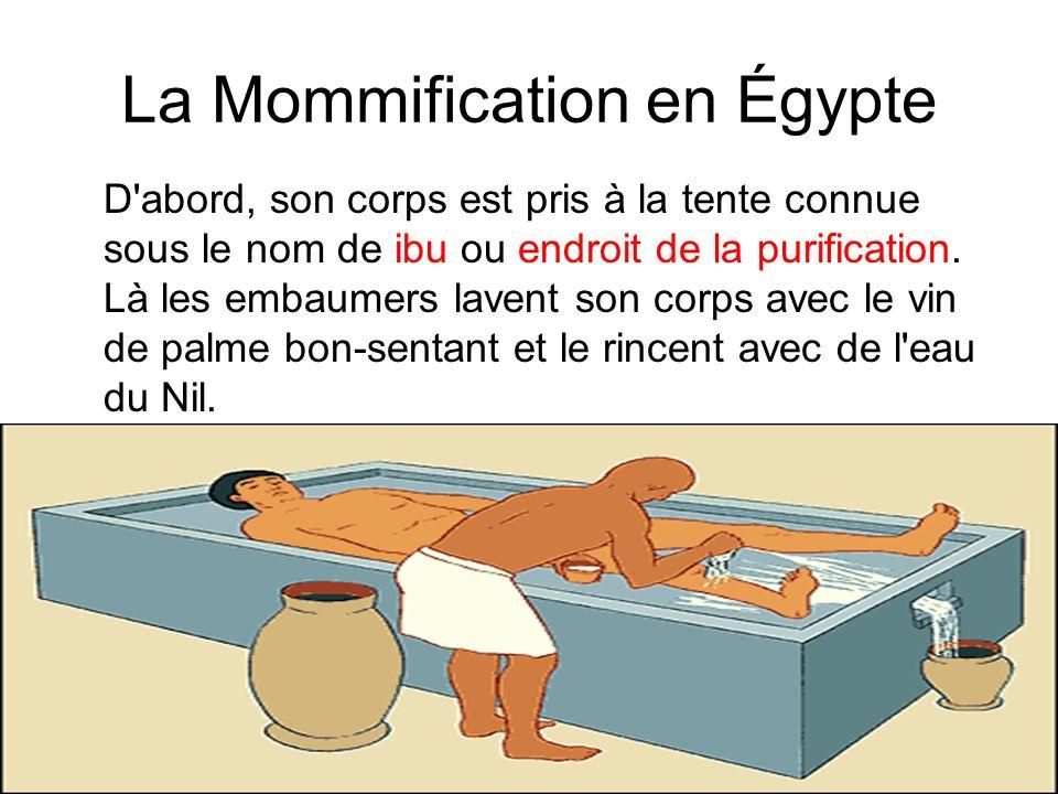 La Mommification en Égypte D'abord, son corps est pris à la tente connue sous le nom de ibu ou endroit de la purification. Là les embaumers lavent son