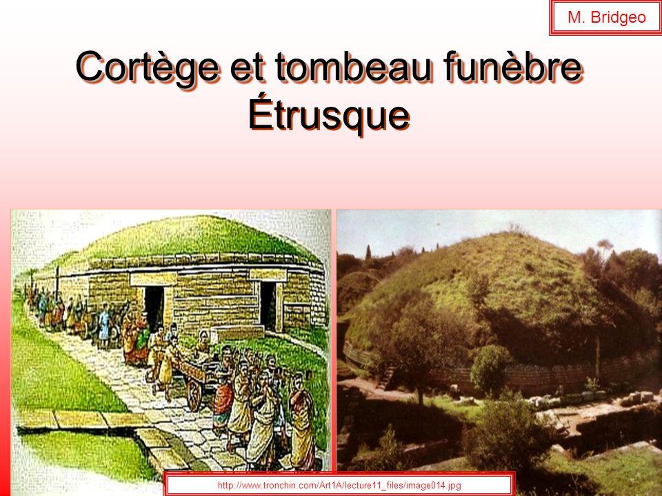 Cortège et tombeau funèbre Cortège et tombeau funèbre Étrusque http://www.tronchin.com/Art1A/lecture11_files/image014.jpg M. Bridgeo