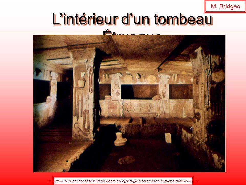 Lintérieur dun tombeau Étrusque http://www.ac-dijon.fr/pedago/lettres/espapro/pedago/langanc/col/col2/necro/images/smalls/539b.jpg M. Bridgeo