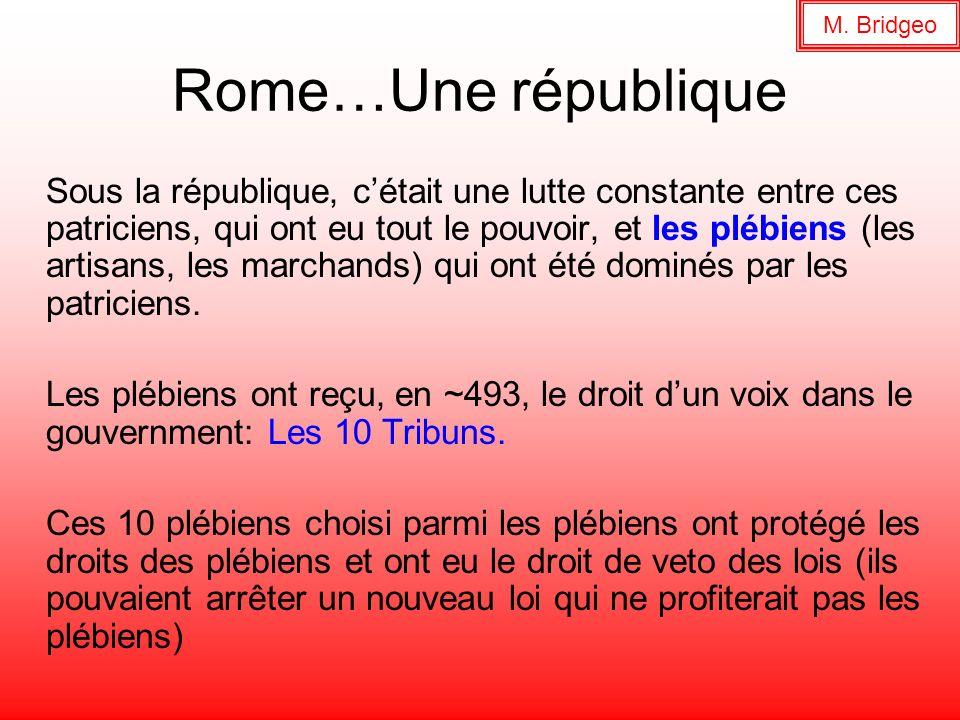 Rome…Une république Sous la république, cétait une lutte constante entre ces patriciens, qui ont eu tout le pouvoir, et les plébiens (les artisans, le