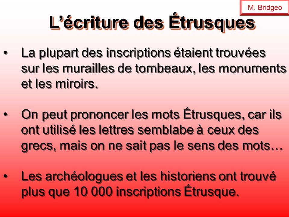 Lécriture des Étrusques La plupart des inscriptions étaient trouvées sur les murailles de tombeaux, les monuments et les miroirs. On peut prononcer le