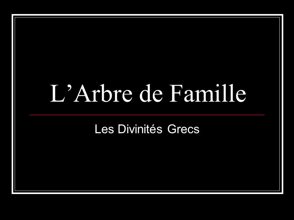 LArbre de Famille Les Divinités Grecs