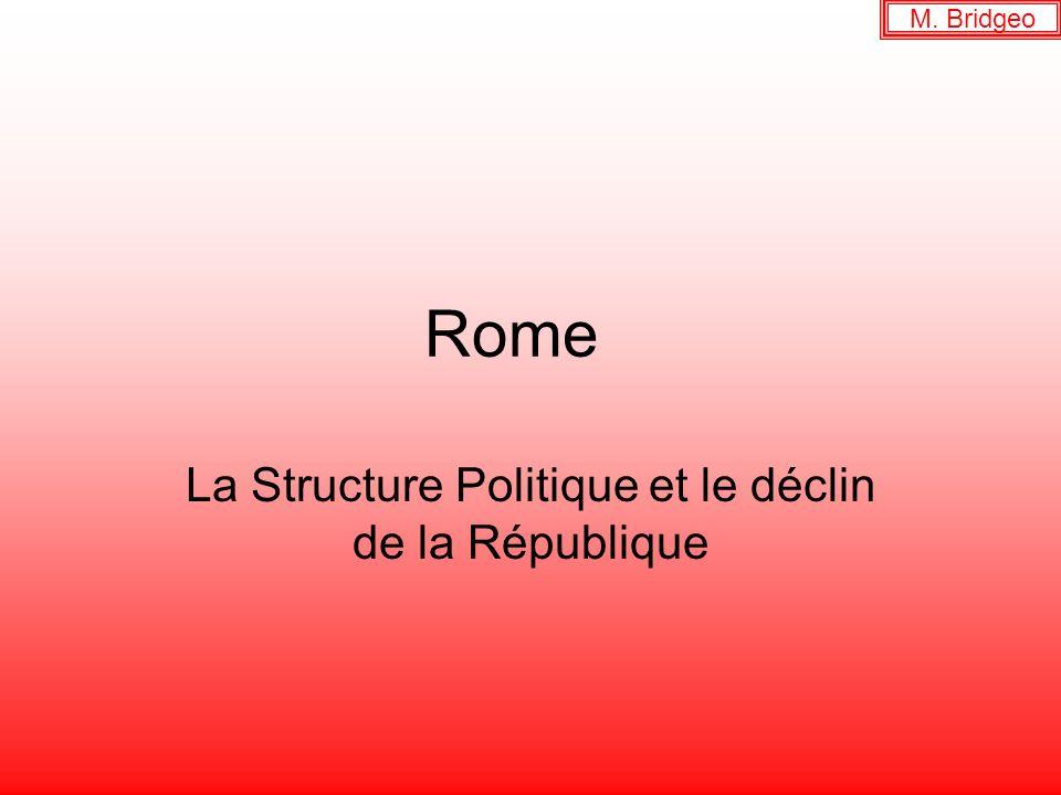 Rome La Structure Politique et le déclin de la République M. Bridgeo